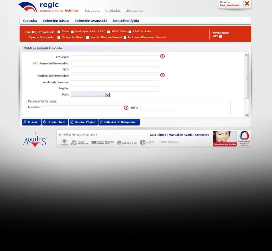 Achilles (Chile) Interface para Intranet Regic