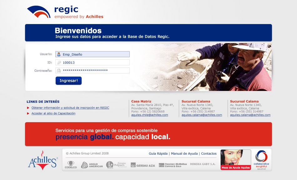 Achilles (Chile) Interface para Intranet Regic