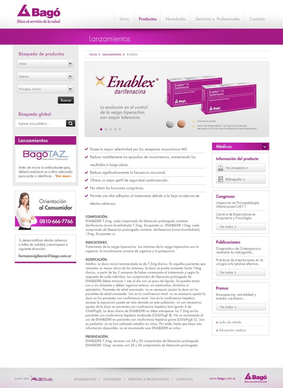 Laboratorios Bagó WebSite Productos Éticos QKStudio