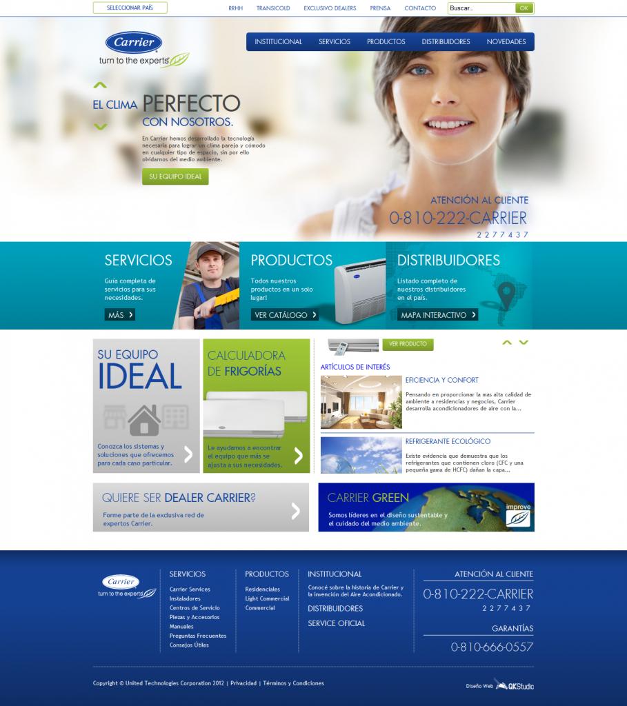 Carrier Argentina, diseño y desarrollo web por QKStudio
