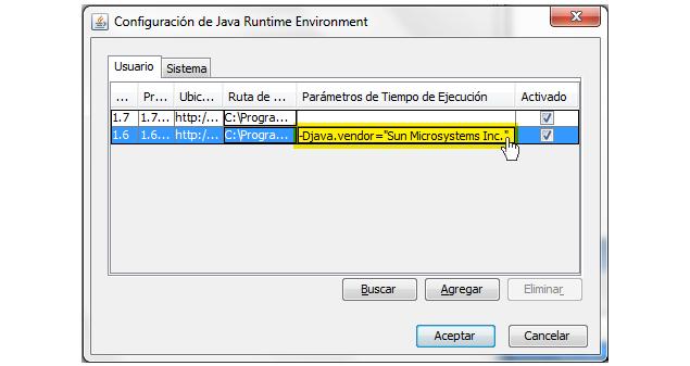 Configuración de JAVA, agregado del parámetro!