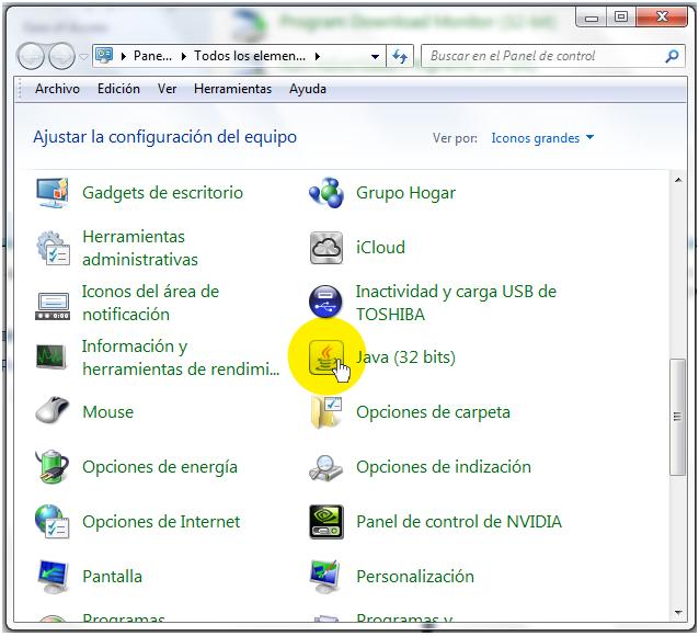 Icono de Java en el Panel de Control