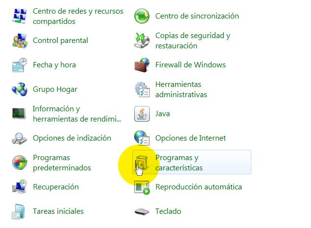 Inicio / Panel de Control / Programas y Caracteristicas
