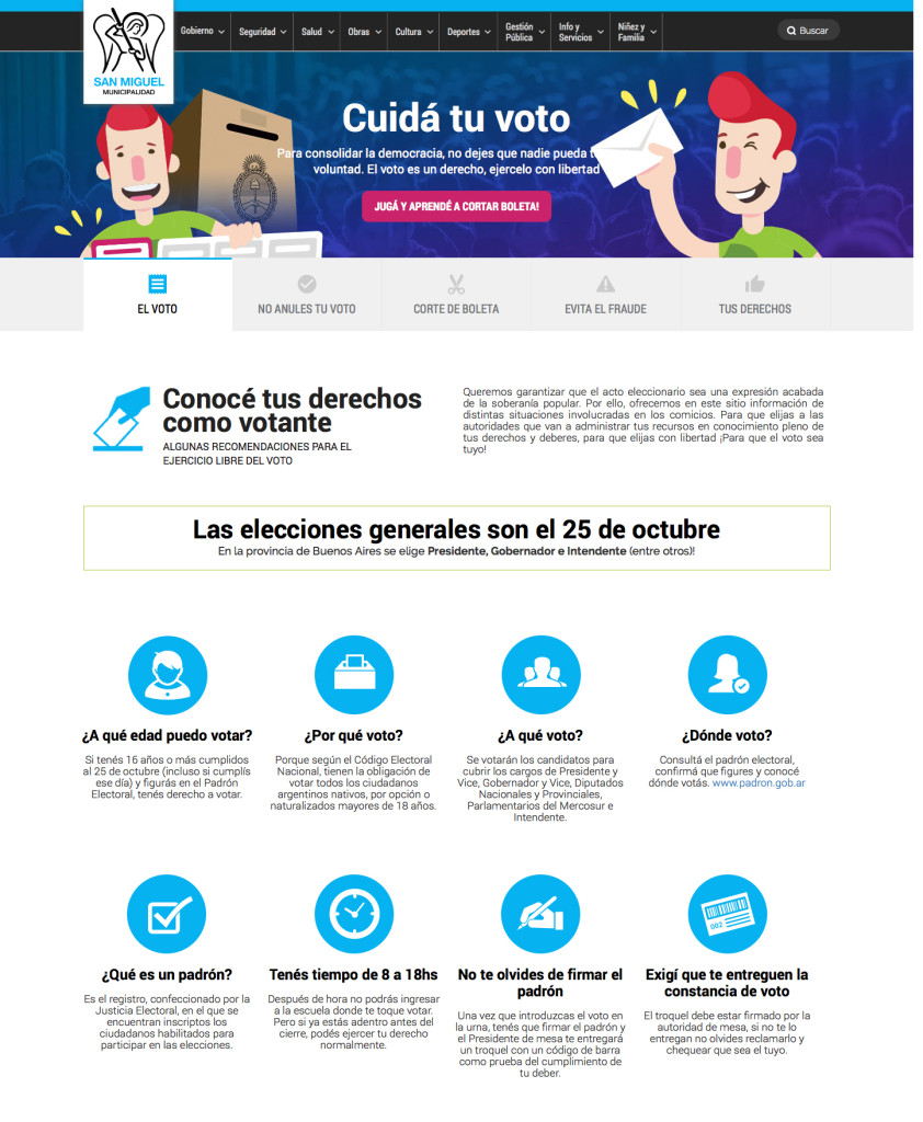 Micrositio Cuidá tu voto, San Miguel